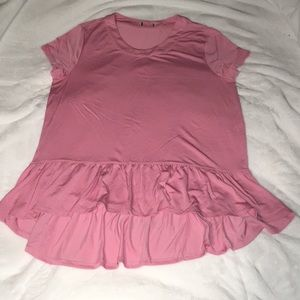 SOFT Pink Ruffle Hem Tunic Top Size Medium